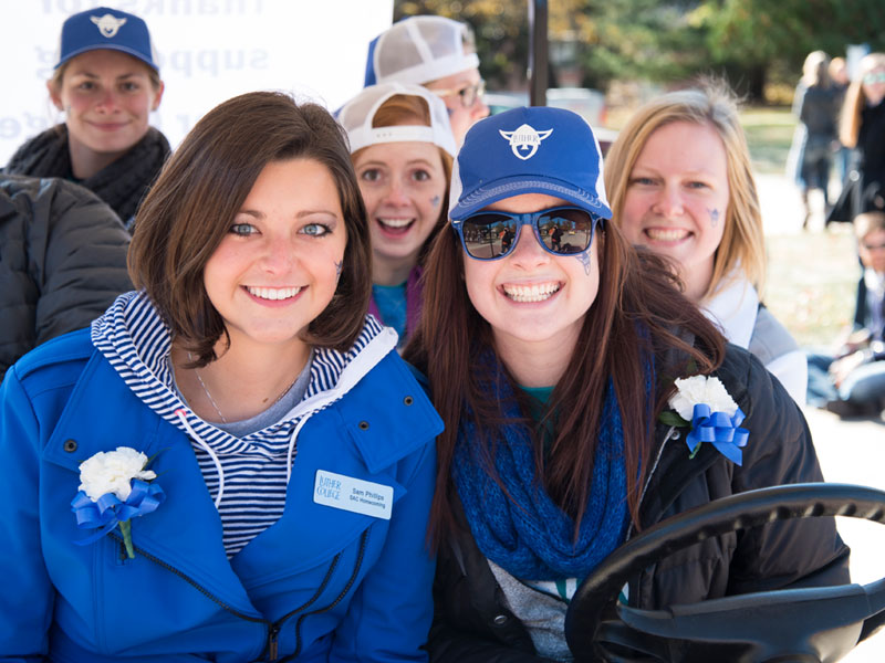 Students participating in the annual Luther College homecoming parade.