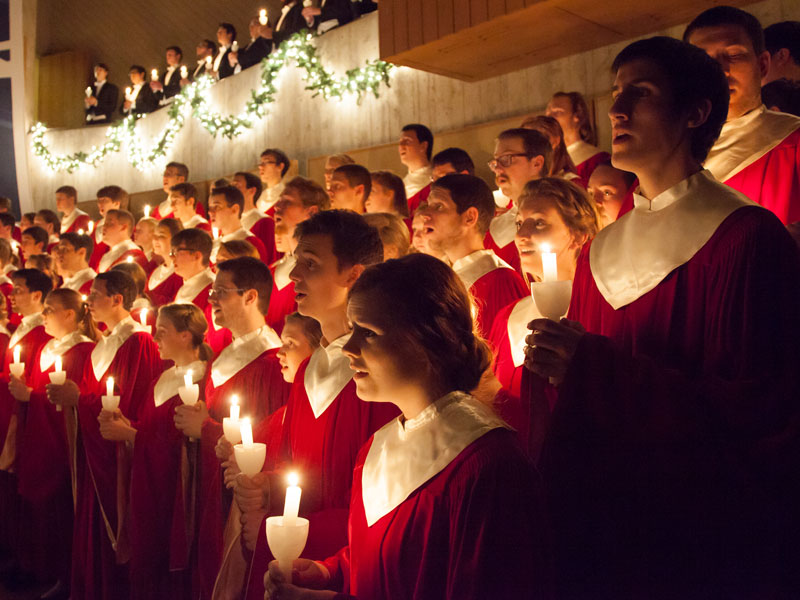 Students performing at Christmas at Luther.